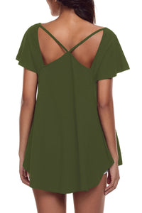 Sexy Olive Green Cutout Cold Shoulder Flowy Top