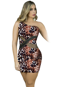Sexy One Shoulder Leopard Nightclub Mini Dress
