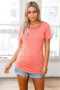 Sexy Orange Crisscross Neckline Short Sleeve Tee