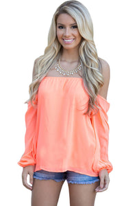 Sexy Orange Off The Shoulder Blouse