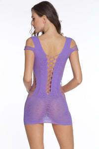 Sexy Orchid Crotchet Mesh Hollow-out Mini Chemise Dress