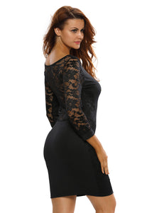 Sexy Party 3/4 Lace Vintage Dress in Whole Black