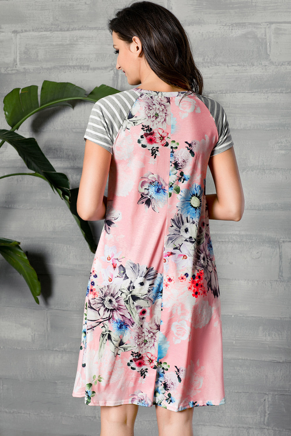 9080e67058 Sexy Pink Backdrop Floral Print A-line Loose T-shirt Dress – SEXY  AFFORDABLE CLOTHING