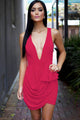 Sexy Pink Deep V Neckline Front Draped Club Dress