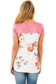 Sexy Pink Floral Print Lower Back T-shirt