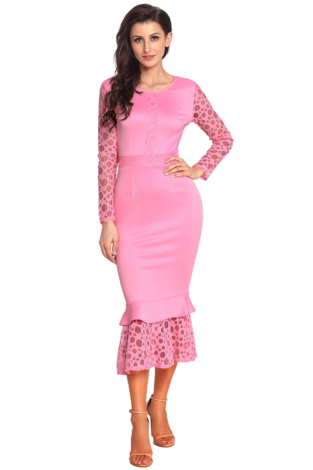 Sexy Pink Hollow-out Long Sleeve Lace Ruffle Bodycon Midi Dress – SEXY  AFFORDABLE CLOTHING 6901fc3b1