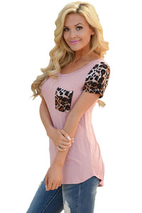 Sexy Pink Leopard Print Spliced Women T-shirt