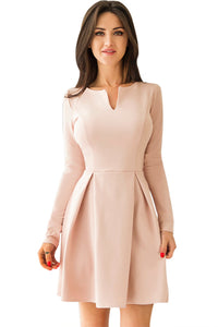 Sexy Pink Long Sleeve V Neck Pleated Skater Dress