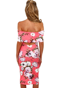 Sexy Pink Multi Floral Bardot Bodycon Midi Dress