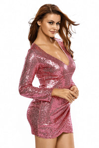 Sexy Pink Ruched Sequin Long Sleeve Nightclub Dress