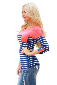 Sexy Pink Shoulder Blue White Striped Blouse