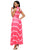 Sexy Pink V Neck Cut out Back Printed Maxi Dress
