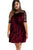 Sexy Plus Size Mesh Insert Burgundy Velvet Swing Dress
