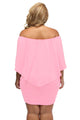 Sexy Plus Size Multiple Dressing Layered Pink Mini Dress