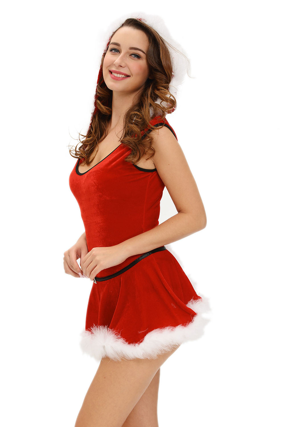 Plus Size Christmas Costumes.Sexy Plus Size Soft Fur Trim Red Santa Teddy And Skirt Christmas Costume
