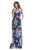 Sexy Pocket Design Short Sleeve Bright Blue Floral Maxi Dress