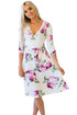 Sexy Purple Blossom Print White Wrap Floral Dress