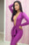 Sexy Purple Deep V-neck Draped Bodycon Dress