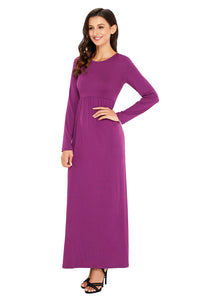 Sexy Purple Long Sleeve High Waist Maxi Jersey Dress