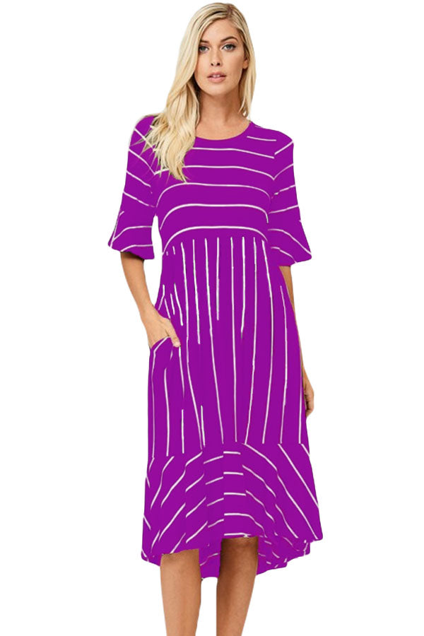 afc0ae790294 Sexy Purple White Striped Bell Sleeve Hi-low Midi Dress – SEXY ...