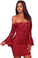 Sexy Purplish Red Crochet Overlay Off The Shoulder Fitted Mini Dress