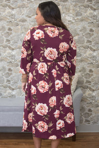 Sexy Purplish Red Floral Printing Plus Size Dress
