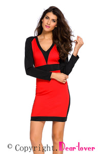 Sexy Red Black Color Block Long Sleeve Midi Dress