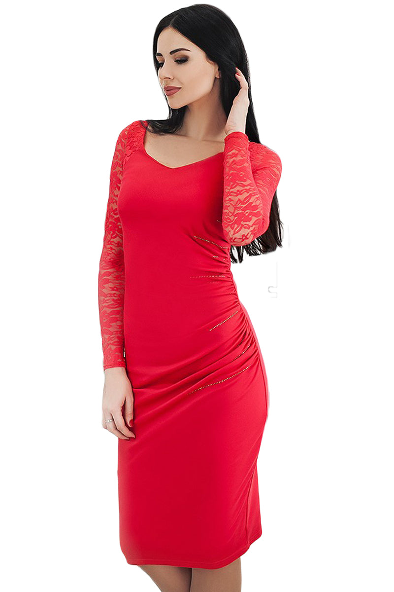 1ce14637 Sexy Red Black Lace Sleeve Embroidery Ruched Sheath Dress – SEXY ...