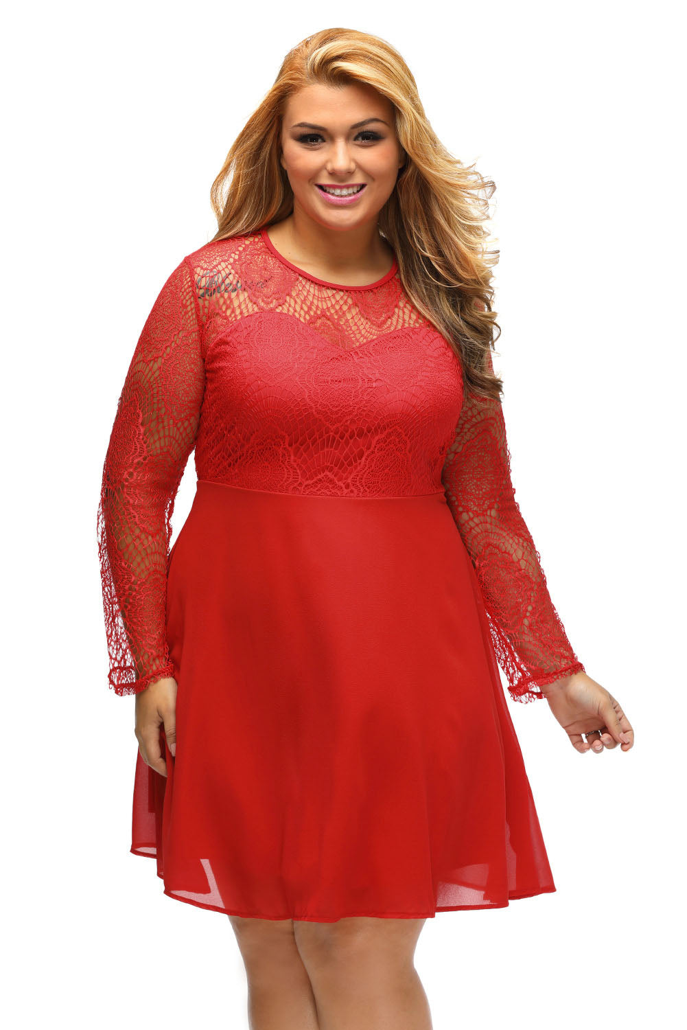 5b4a14c272 Sexy Red Boohoo Plus Size Lace Top Skater Dress – SEXY AFFORDABLE ...