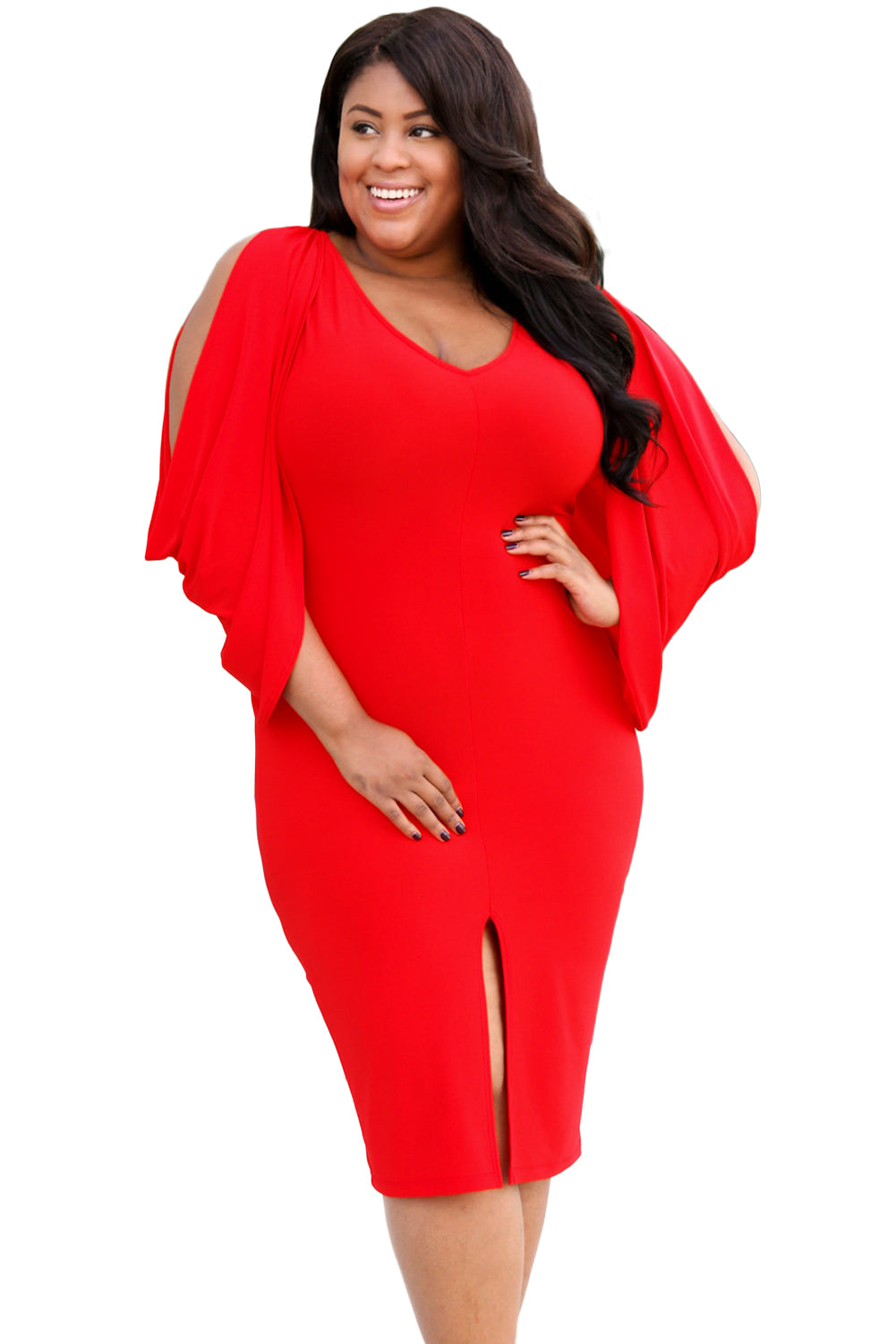 1a4983199c Sexy Red Cascading Slit Sleeve Bodycon Plus Size Dress – SEXY AFFORDABLE  CLOTHING