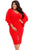 Sexy Red Cascading Slit Sleeve Bodycon Plus Size Dress