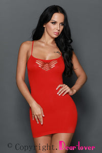 Sexy Red Honeycomb Hollows Chemise Dress