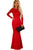 Sexy Red Lace Long Sleeve Bow Back Maxi Dress