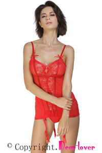 Sexy Red Lace Me up Garter Chemise Set with G-String
