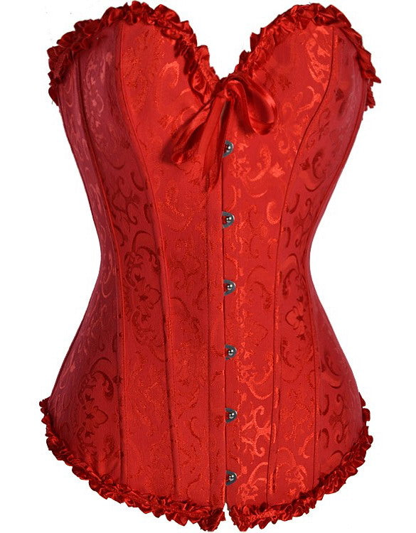 Tapestry Corset with Ruffle Trim And G-String