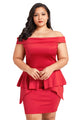 Sexy Red Plus Size Fold Over Off Shoulder Peplum Dress