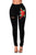 Sexy Red Rose Embroidery Distressed Black Skinny Jeans