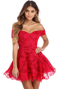 Sexy Red Strapless Drop Shoulder Lace Skater Dress