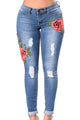 Sexy Rose Embroidered Whisker Detail Skinny Jeans