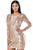 Sexy Rose Nude Open Back Long Sleeve Sequin Dress