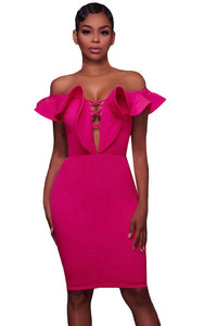 Sexy Rosy Off Shoulder Ruffle Bodycon Party Dress