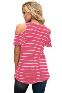 Sexy Rosy White Stripe Cold Shoulder Top