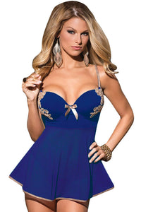 Sexy Royal Blue 2 Pieces Microfiber and Mesh Babydoll
