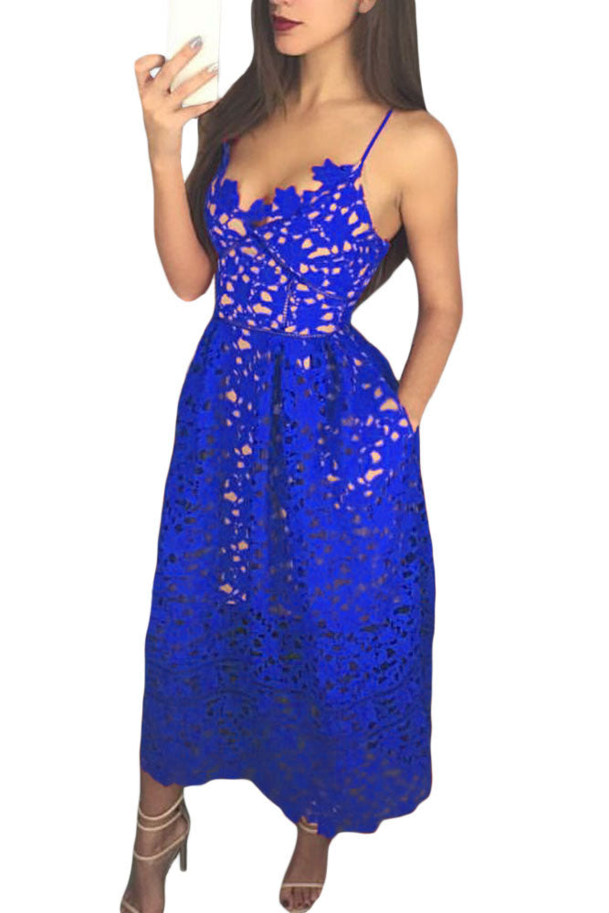 0b432653991 Sexy Royal Blue Lace Hollow Out Nude Illusion Party Dress – SEXY ...