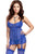 Sexy Royal Blue Lace Me up Garter Chemise Set with G-String