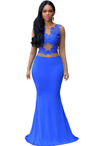 Sexy Royal Blue Nude Mesh Accent Maxi Dress