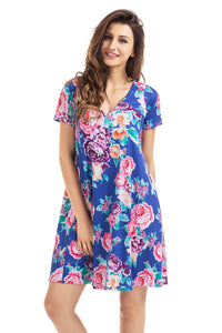 Sexy Royal Blue Pocket Design Summer Floral Shirt Dress