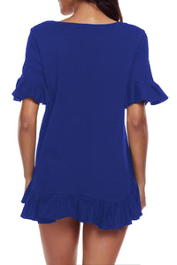 Sexy Royal Blue Ruffle Trim Short Sleeve Flowy Top