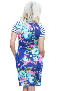 Sexy Royal Blue Striped Short Sleeve Body-hugging Floral Dress