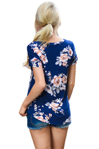 Sexy Royalblue Short Sleeve Round Neck Floral Printed T-shirt